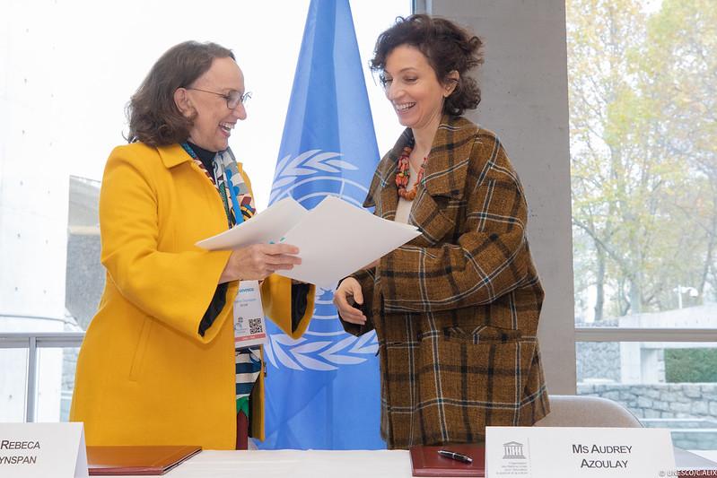 La secretaria general iberoamericana, Rebeca Grynspan, y la directora general de la UNESCO, Audrey Azoulay