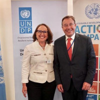 Secretaria general iberoamericana, rebeca Grynspan y administrador del PNUD, Achim Steiner