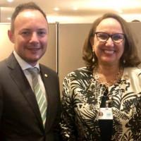 Cap de Govern d'Andorra, Xavier Espot y la secretaria general iberoamericana, rebeca Grynspan