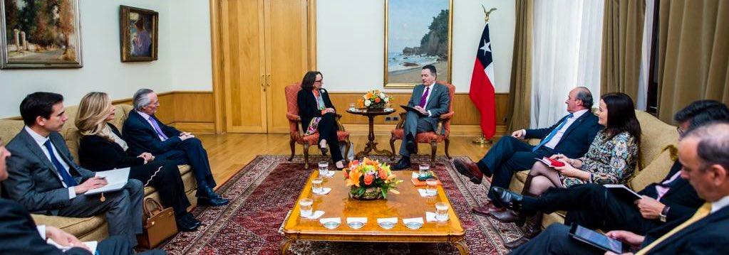 Ministro de relaciones exteriores de Chile y Secretaria General Iberoamericana