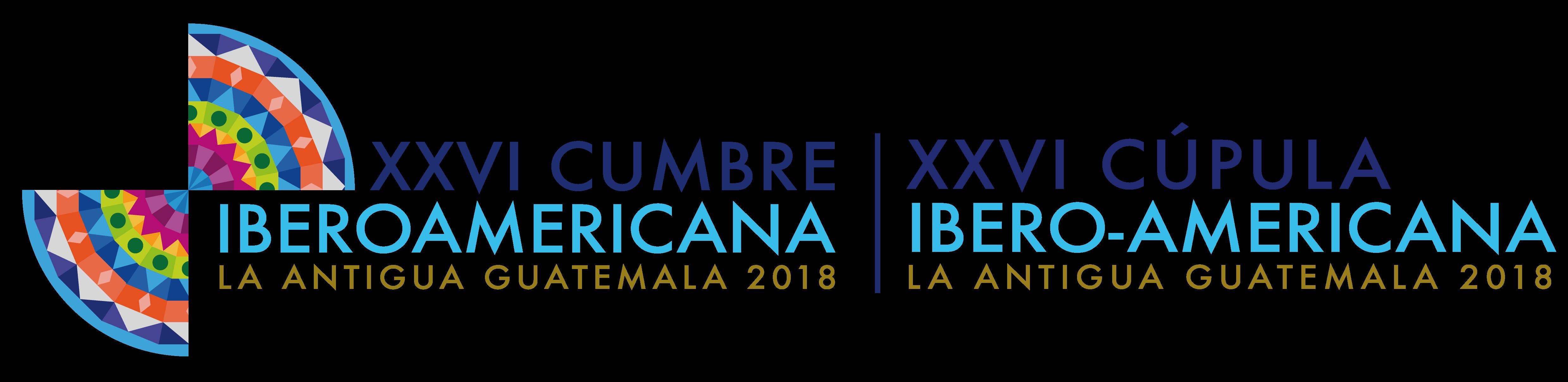 "logotipo XXVI Cúpula Ibero-Americana La Antigua Guatemala 2018 – ""Uma Ibero-américa próspera, inclusiva e sustentável"""