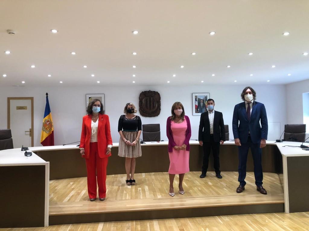 Rebeca Grynspan, secretaria general iberoamericana y equipo de la SPT de Andorra