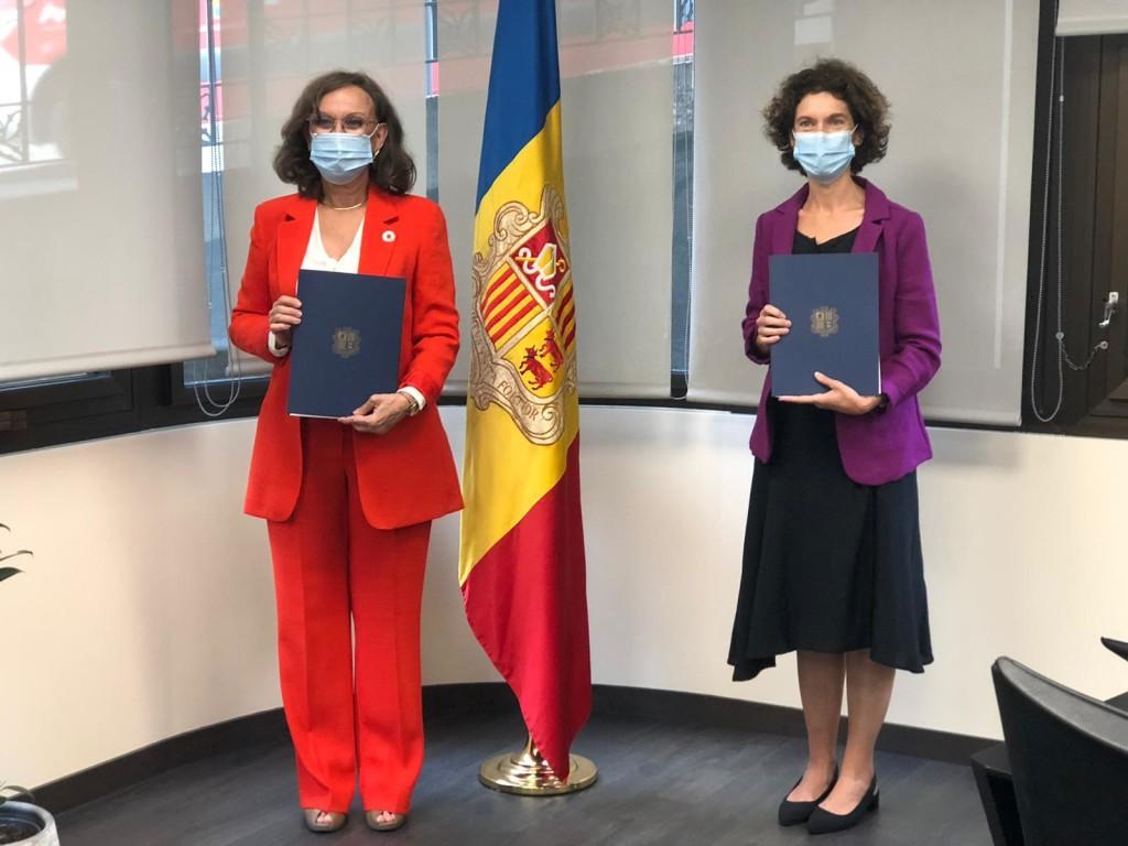 Rebeca Grynspan, secretaria general iberoamericana y Maria Ubach, ministra de Asuntos Exteriores de Andorra