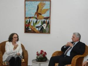 Secretaria Grynspan y Presidente de Cuba Miguel Díaz-Canel