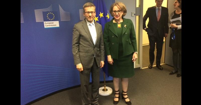 Carlos Moedas, Comisario Europeo de Investigación, Ciencia e Innovación y ebeca Grynspan, Secretaria General Iberoamericana