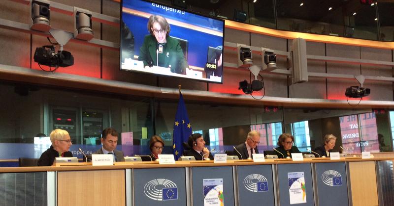 Secretaria General Iberoamericana durante su intervención en el Parlamento Europeo